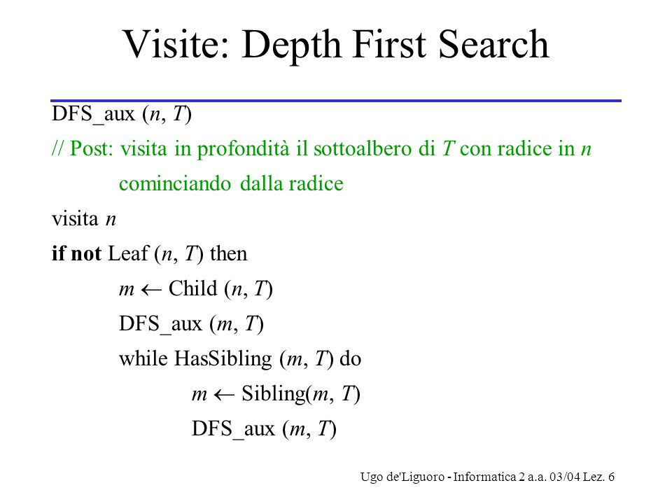 Visite: Depth First Search