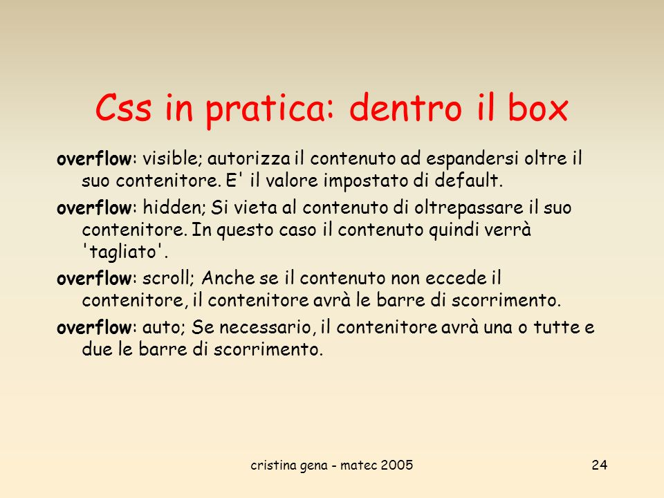 Css in pratica: dentro il box