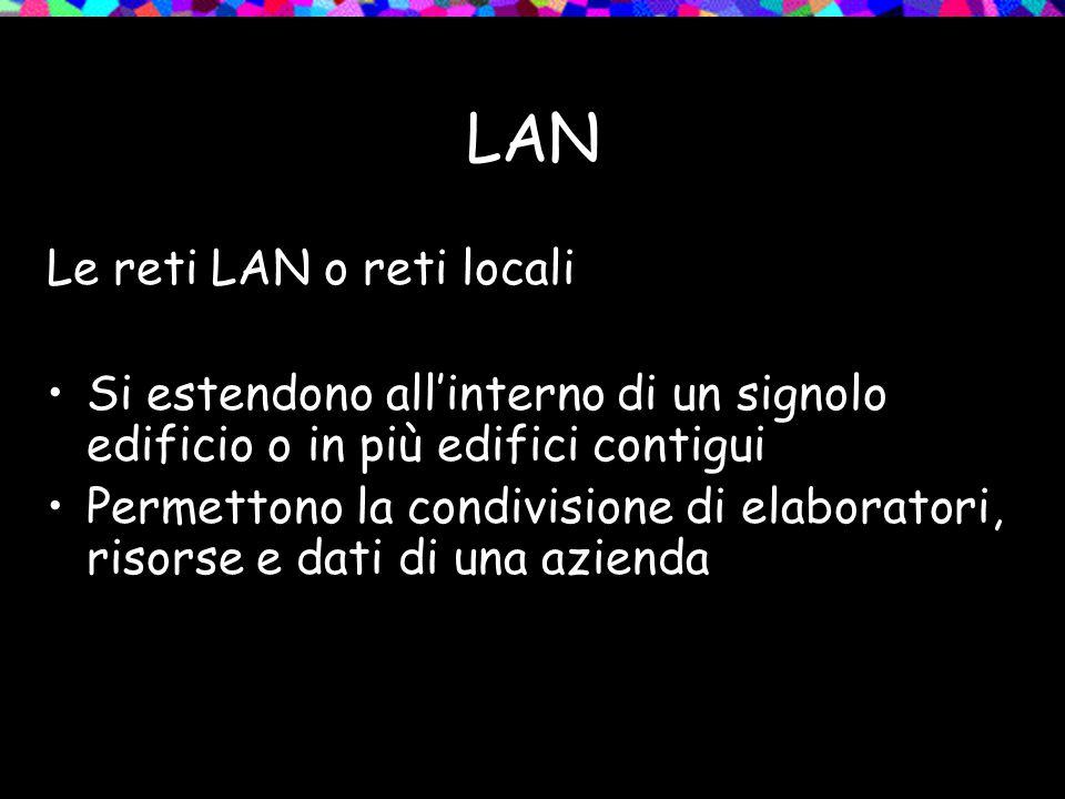 LAN Le reti LAN o reti locali