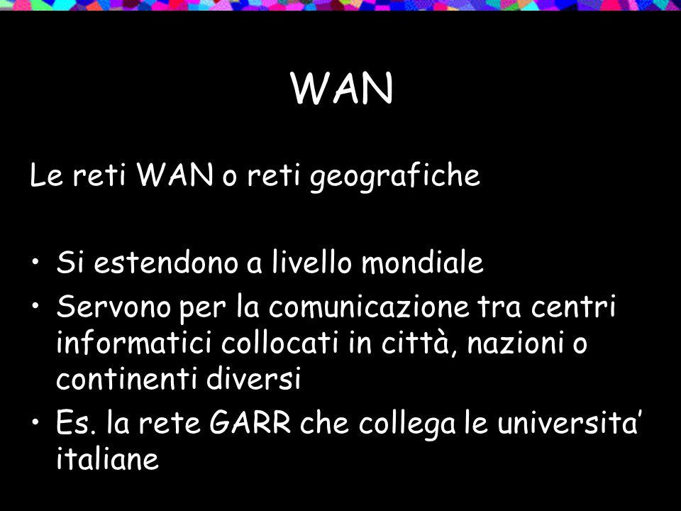 WAN Le reti WAN o reti geografiche Si estendono a livello mondiale