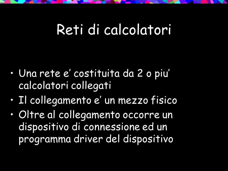 Reti di calcolatori Una rete e' costituita da 2 o piu' calcolatori collegati. Il collegamento e' un mezzo fisico.