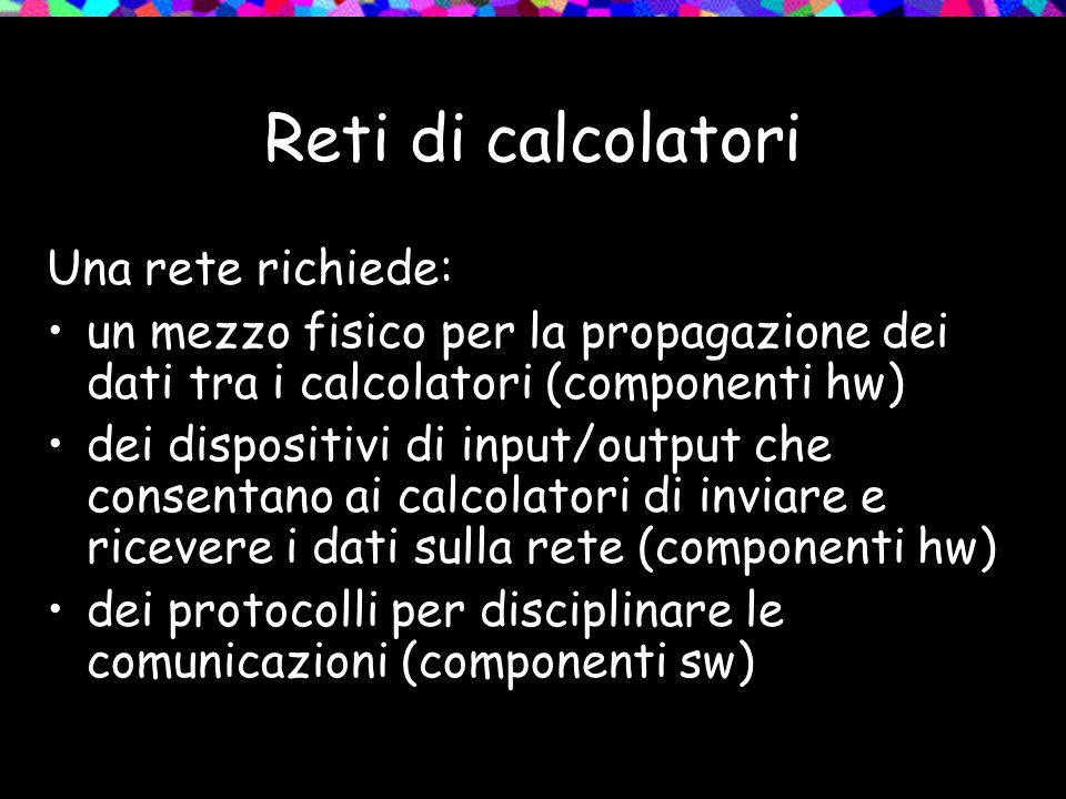 Reti di calcolatori Una rete richiede: