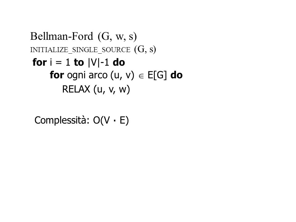 Bellman-Ford (G, w, s) for i = 1 to |V|-1 do
