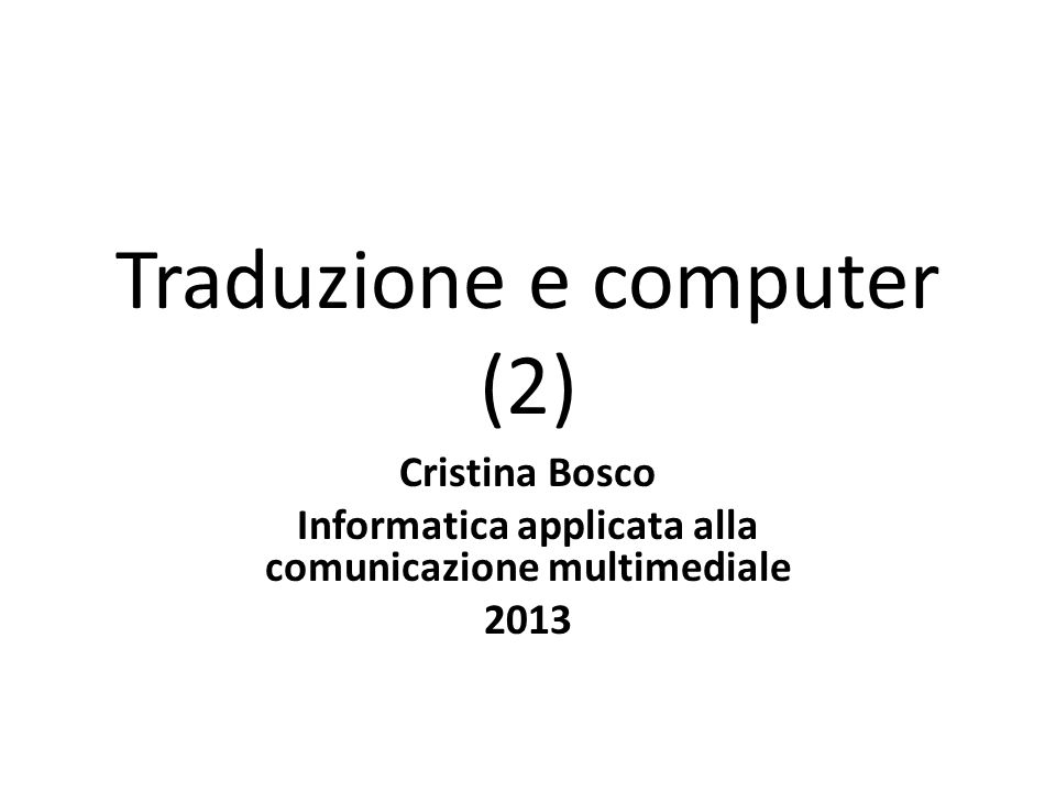 Traduzione e computer (2)