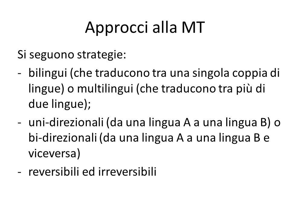 Approcci alla MT Si seguono strategie: