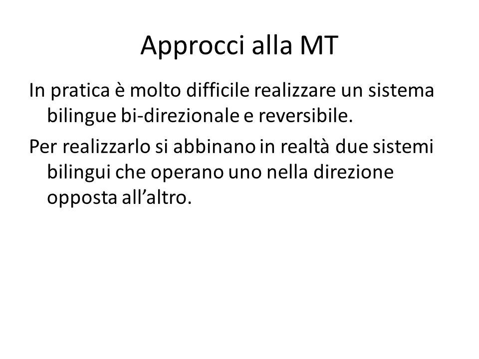 Approcci alla MT In pratica è molto difficile realizzare un sistema bilingue bi-direzionale e reversibile.