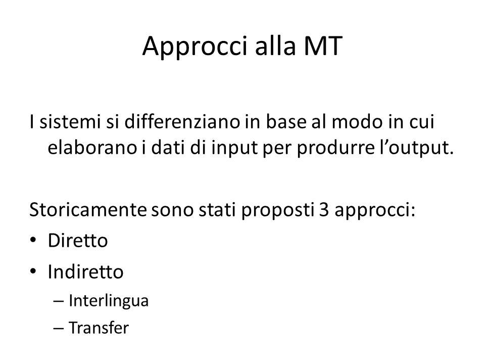 Approcci alla MT I sistemi si differenziano in base al modo in cui elaborano i dati di input per produrre l'output.