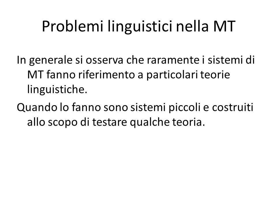 Problemi linguistici nella MT