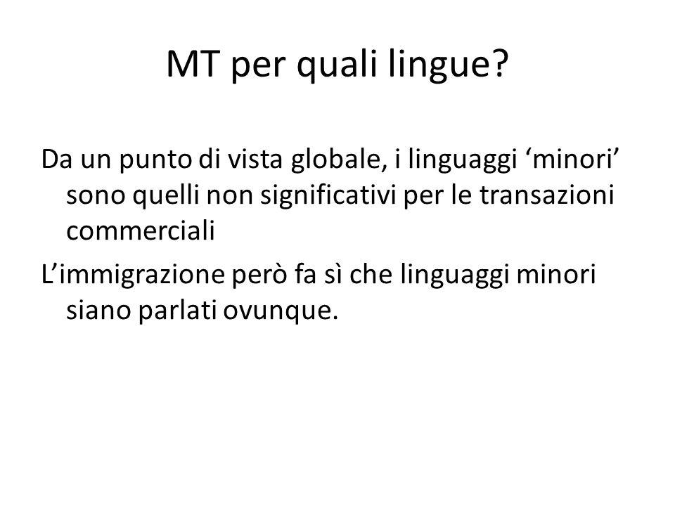 MT per quali lingue