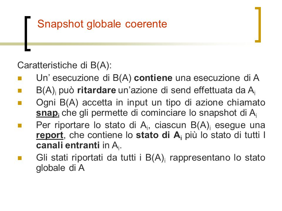 Snapshot globale coerente