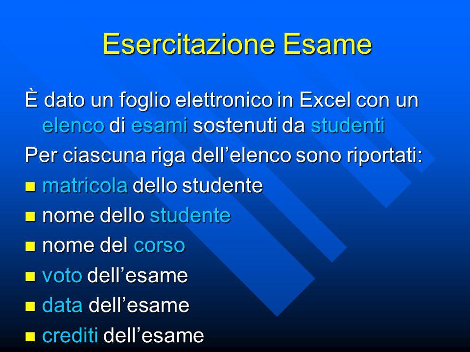 Esercitazione Esame È dato un foglio elettronico in Excel con un elenco di esami sostenuti da studenti.