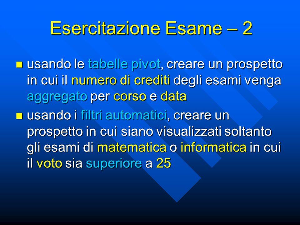 Esercitazione Esame – 2 usando le tabelle pivot, creare un prospetto in cui il numero di crediti degli esami venga aggregato per corso e data.