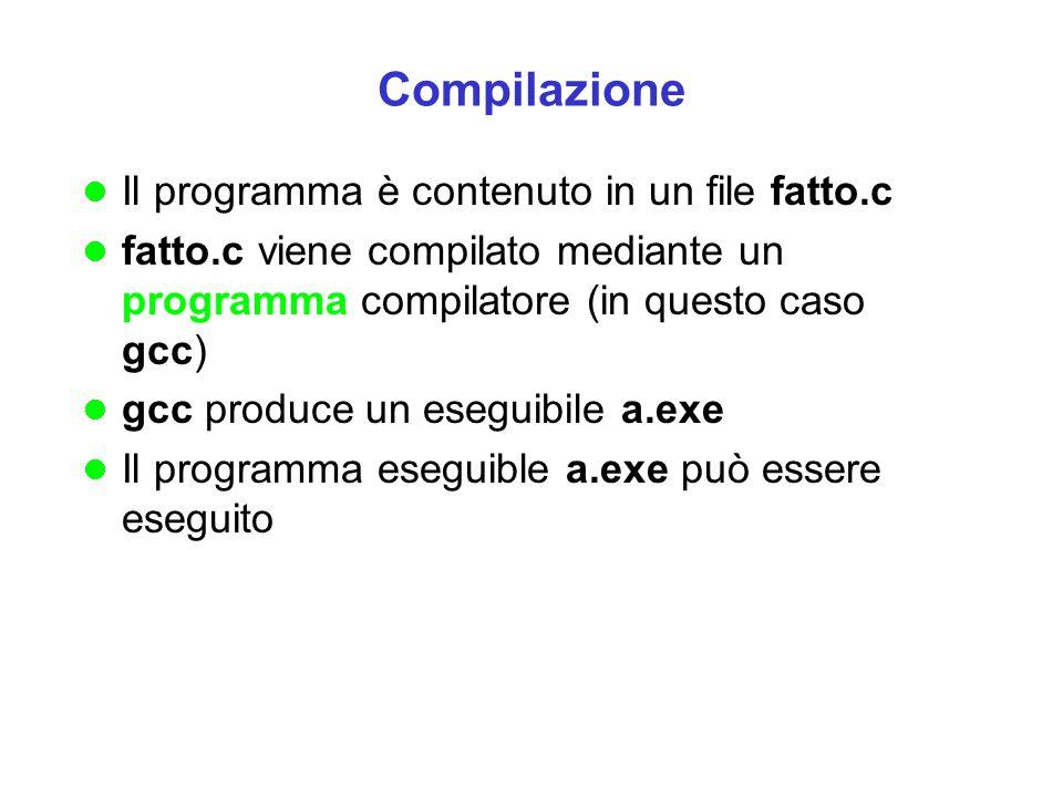 Compilazione Il programma è contenuto in un file fatto.c
