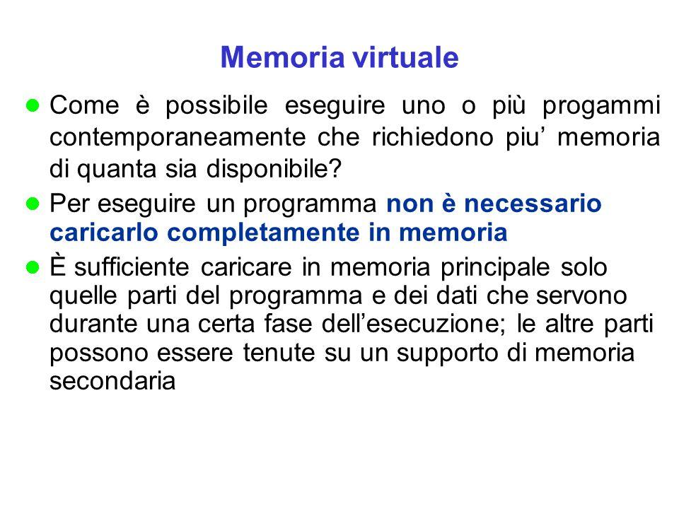 Memoria virtuale Come è possibile eseguire uno o più progammi contemporaneamente che richiedono piu' memoria di quanta sia disponibile