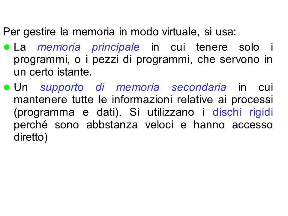 Per gestire la memoria in modo virtuale, si usa: