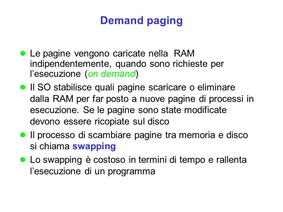 Demand paging Le pagine vengono caricate nella RAM indipendentemente, quando sono richieste per l'esecuzione (on demand)