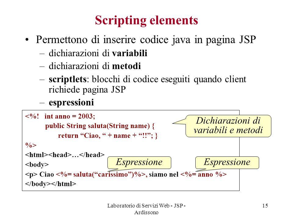 Laboratorio di Servizi Web - JSP - Ardissono
