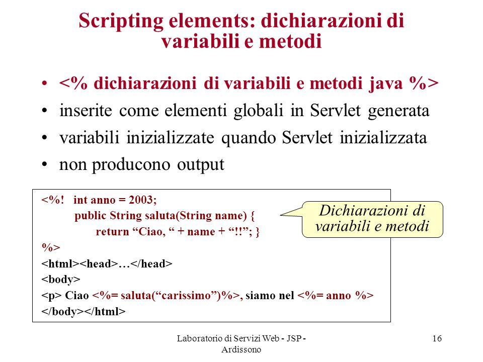 Scripting elements: dichiarazioni di variabili e metodi