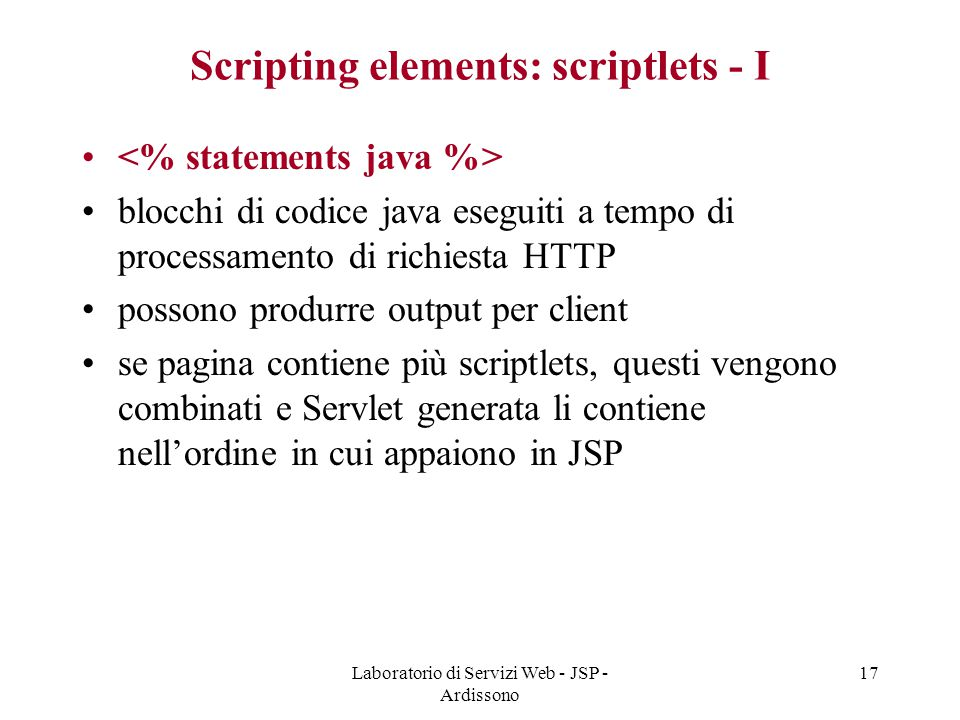 Scripting elements: scriptlets - I