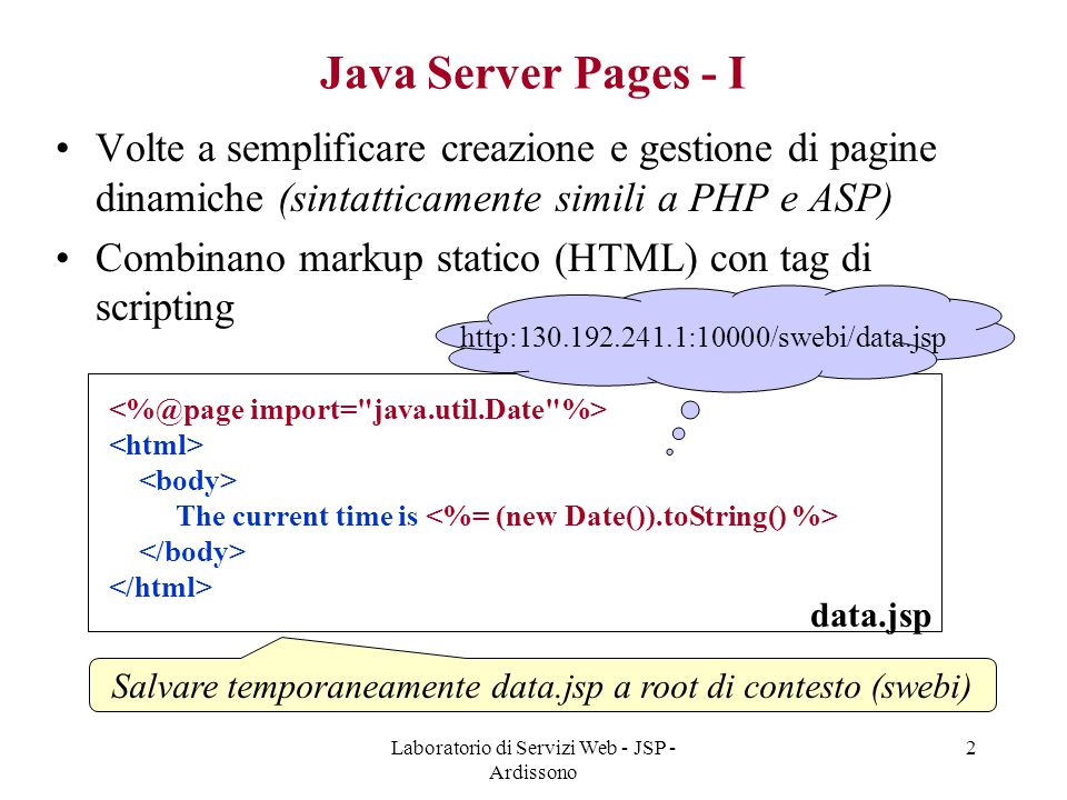 Java Server Pages - I Volte a semplificare creazione e gestione di pagine dinamiche (sintatticamente simili a PHP e ASP)