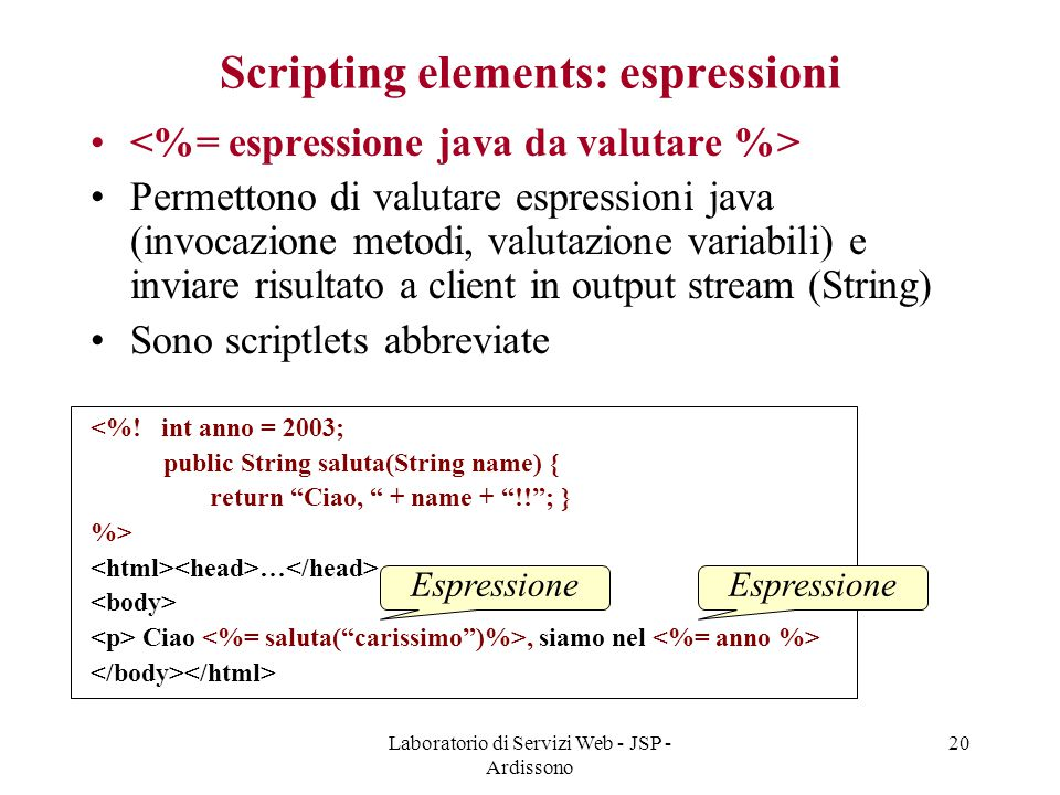 Scripting elements: espressioni