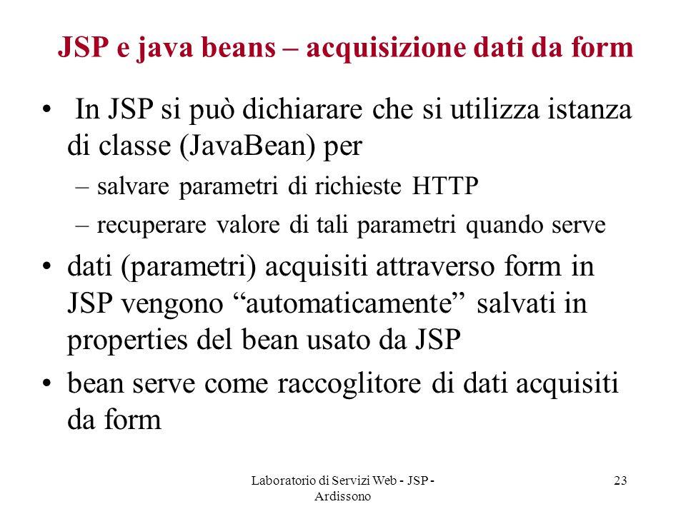 JSP e java beans – acquisizione dati da form