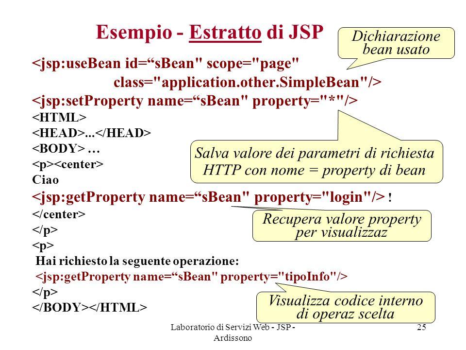 Esempio - Estratto di JSP