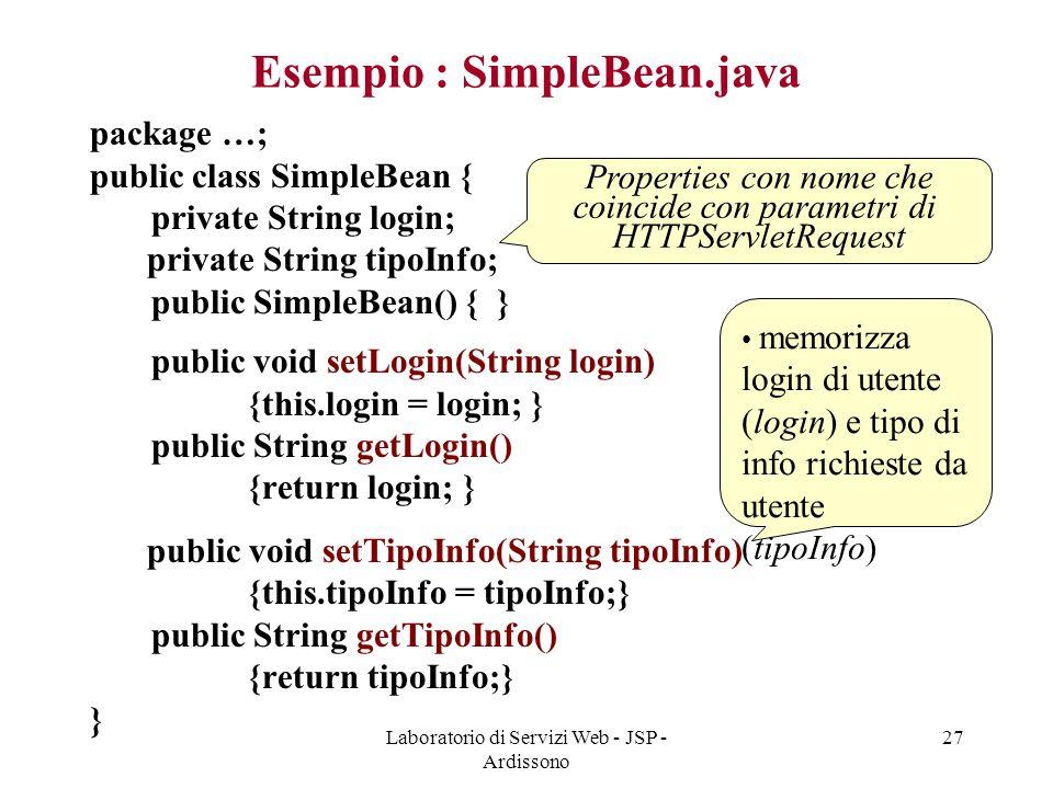 Esempio : SimpleBean.java