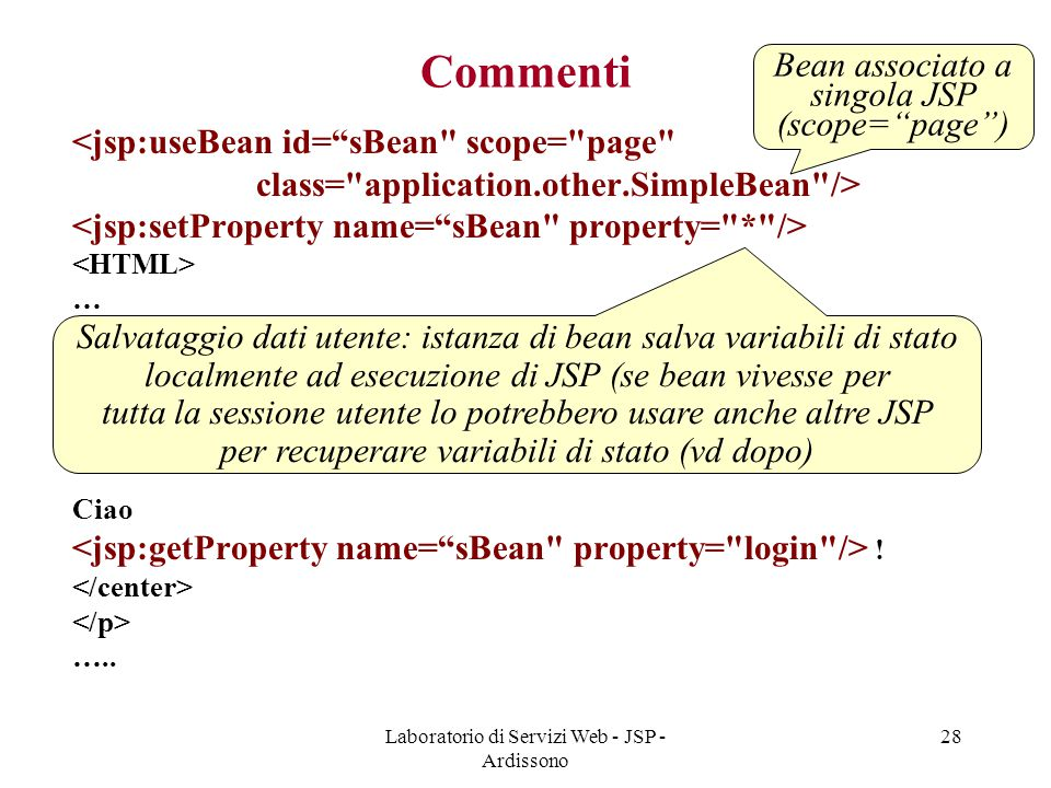 Commenti Bean associato a singola JSP (scope= page )