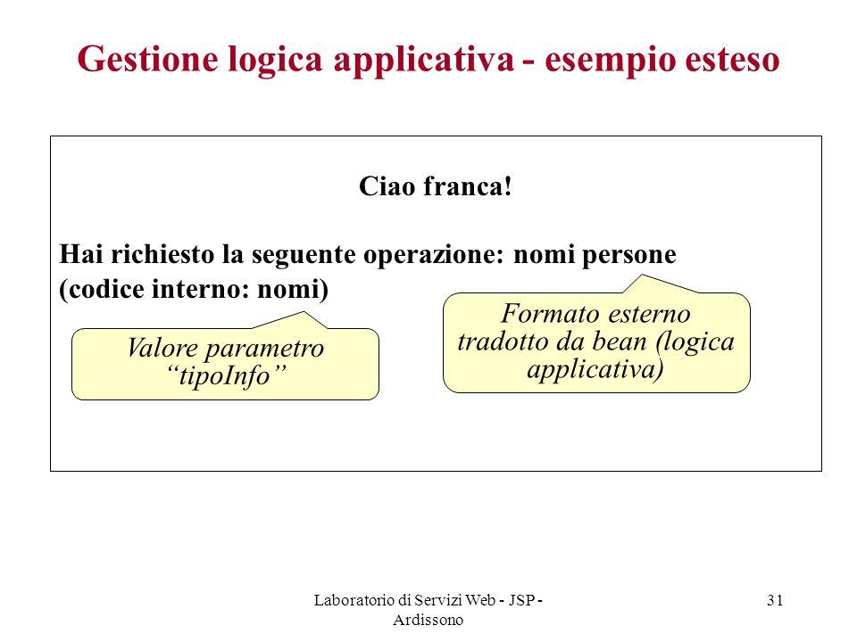 Gestione logica applicativa - esempio esteso