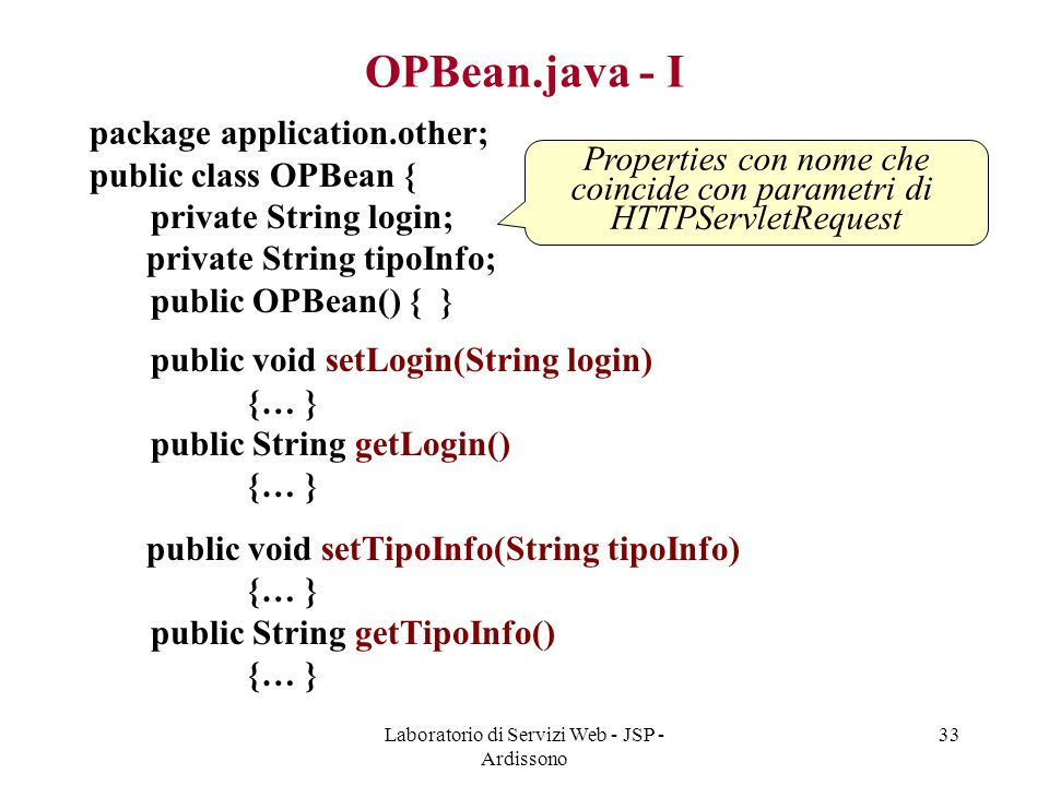 OPBean.java - I package application.other; public class OPBean {