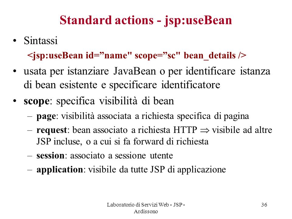 Standard actions - jsp:useBean