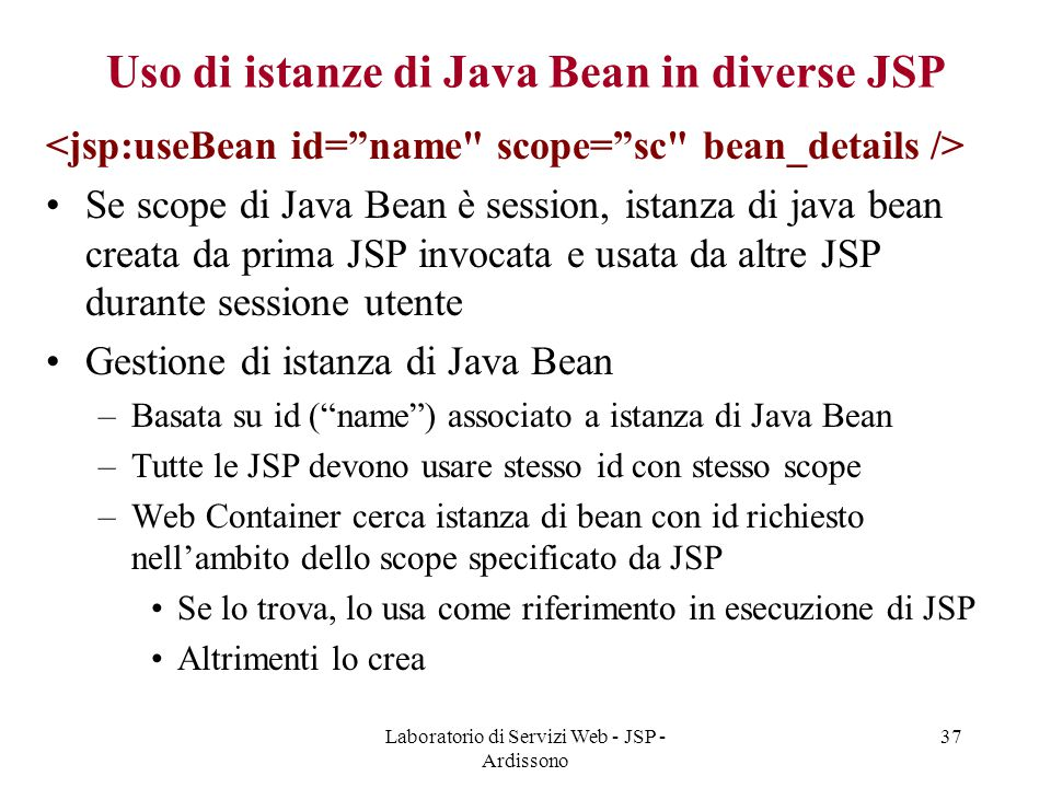 Uso di istanze di Java Bean in diverse JSP