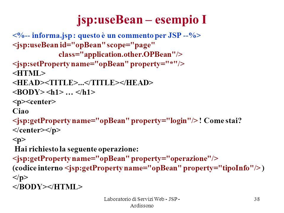 jsp:useBean – esempio I