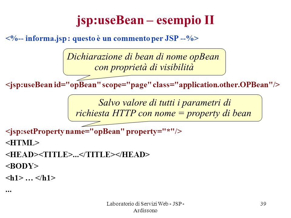 jsp:useBean – esempio II