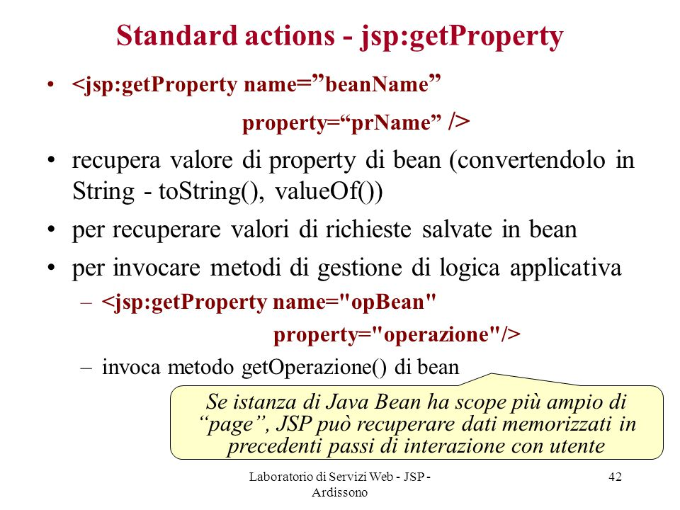 Standard actions - jsp:getProperty