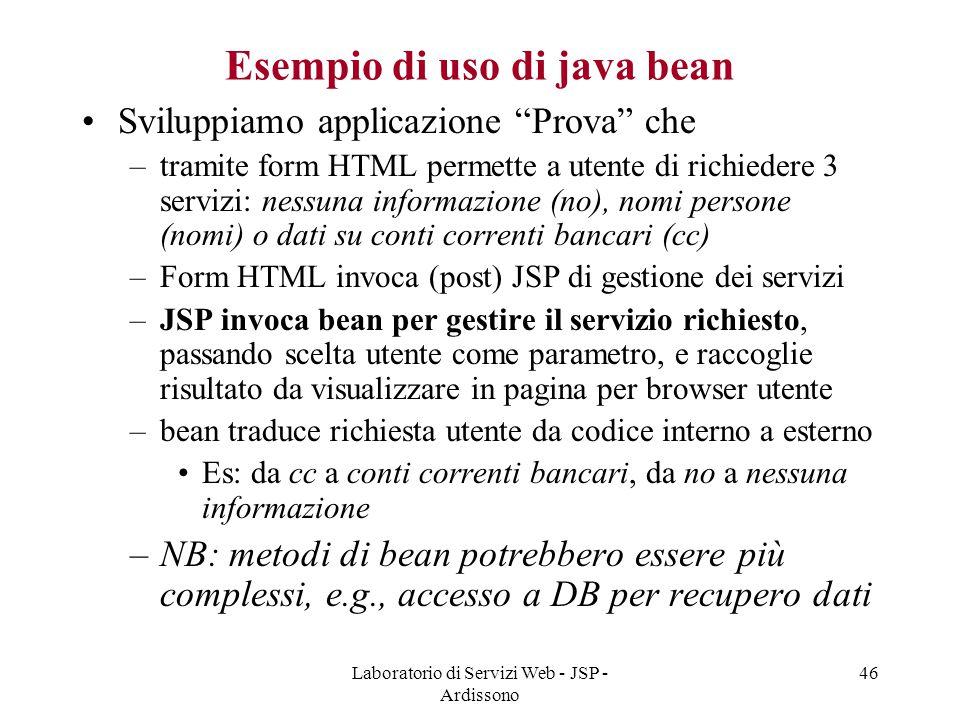 Esempio di uso di java bean