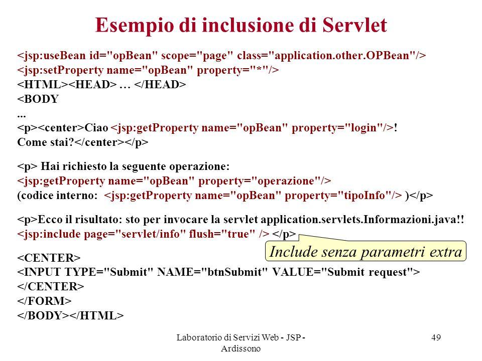 Esempio di inclusione di Servlet