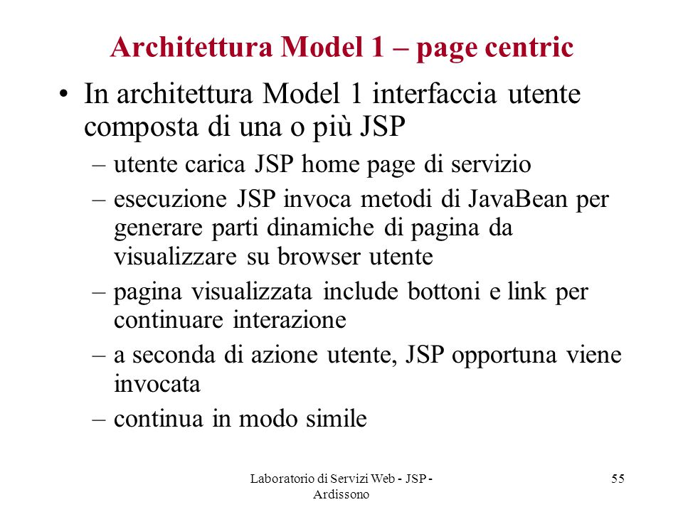 Architettura Model 1 – page centric