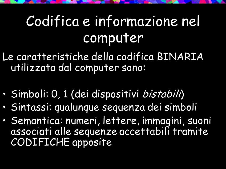 Codifica e informazione nel computer
