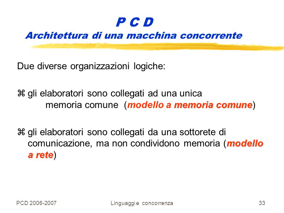 P C D Architettura di una macchina concorrente