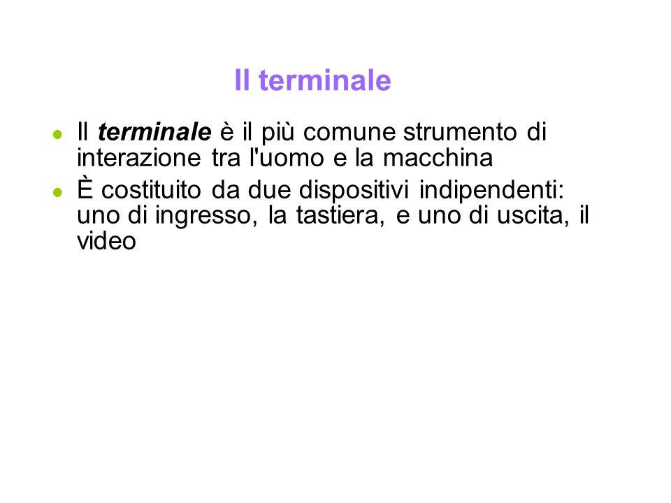 Il terminale Il terminale è il più comune strumento di interazione tra l uomo e la macchina.