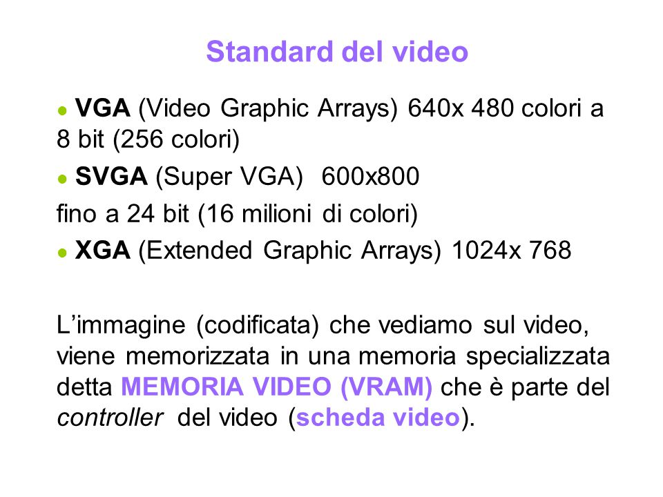 Standard del video VGA (Video Graphic Arrays) 640x 480 colori a 8 bit (256 colori) SVGA (Super VGA) 600x800.