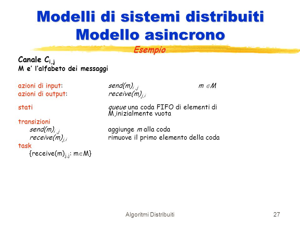 Modelli di sistemi distribuiti Modello asincrono