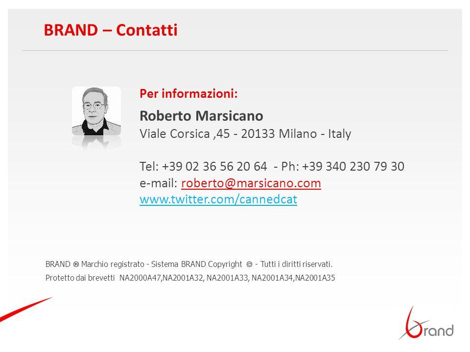 BRAND – Contatti Roberto Marsicano Per informazioni: