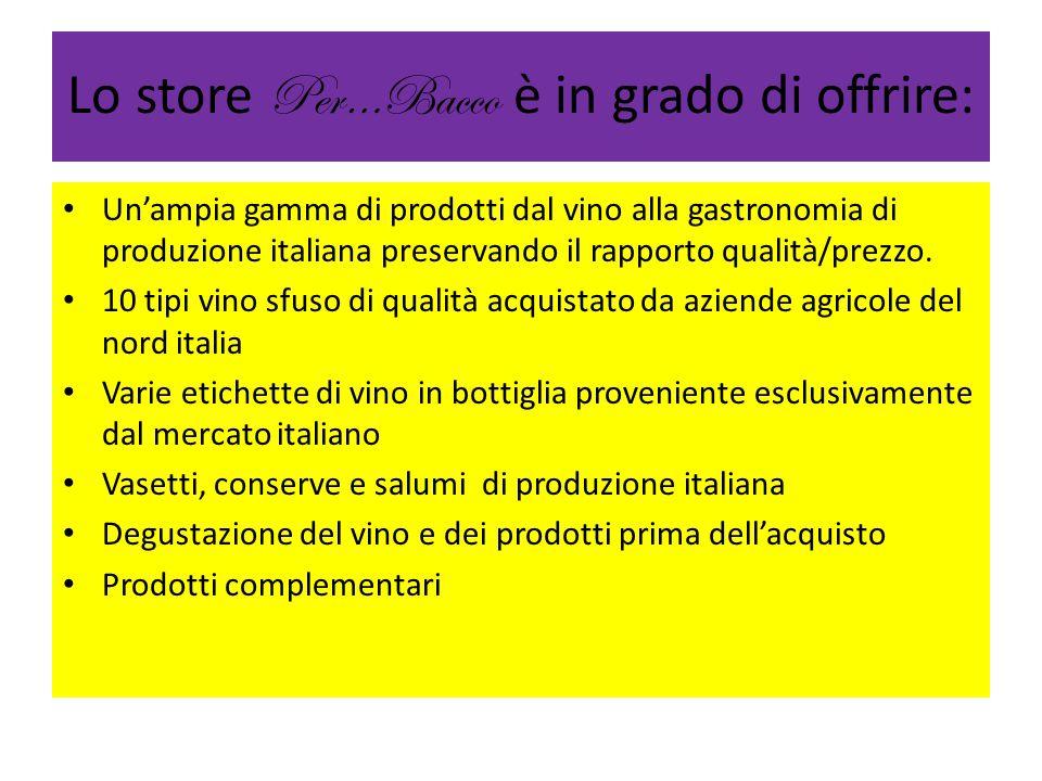 Lo store Per…Bacco è in grado di offrire: