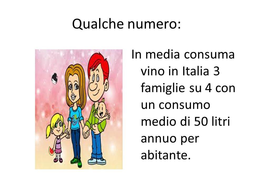 Qualche numero: In media consuma vino in Italia 3 famiglie su 4 con un consumo medio di 50 litri annuo per abitante.