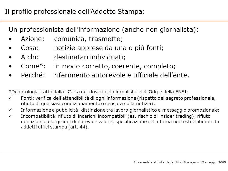Il profilo professionale dell'Addetto Stampa: