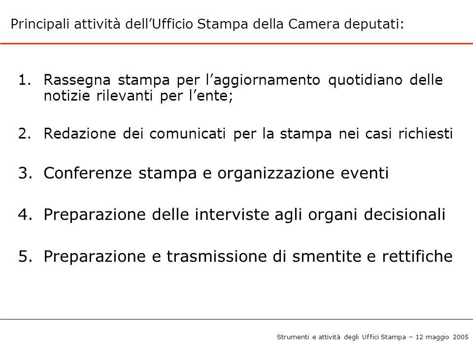 Conferenze stampa e organizzazione eventi