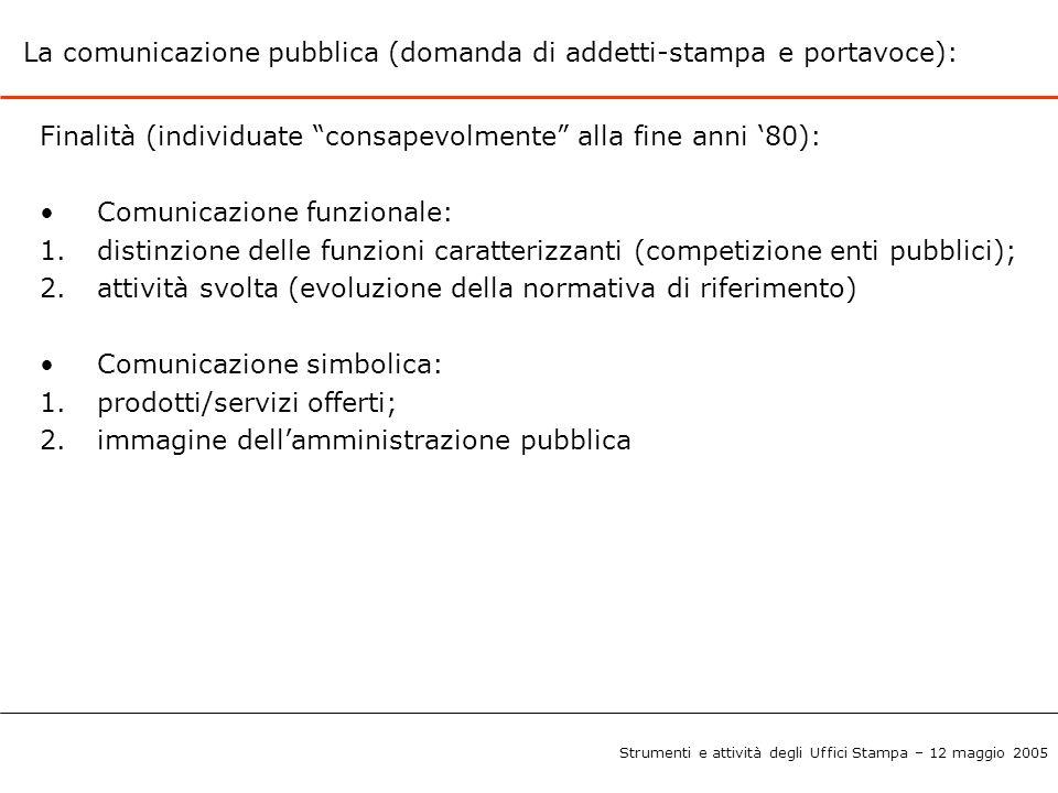 La comunicazione pubblica (domanda di addetti-stampa e portavoce):